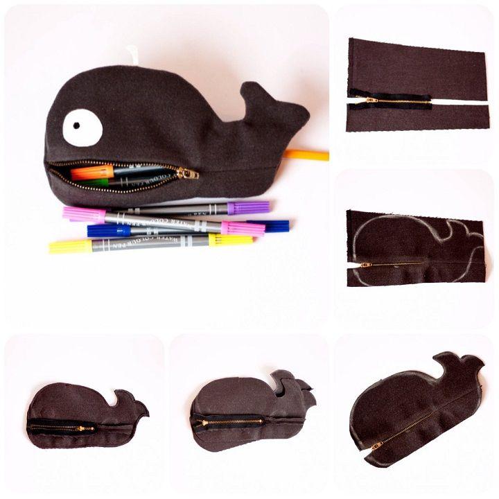 Come fare un astuccio a forma di balena (o di altre forme) in pannolenci, feltro o stoffa.