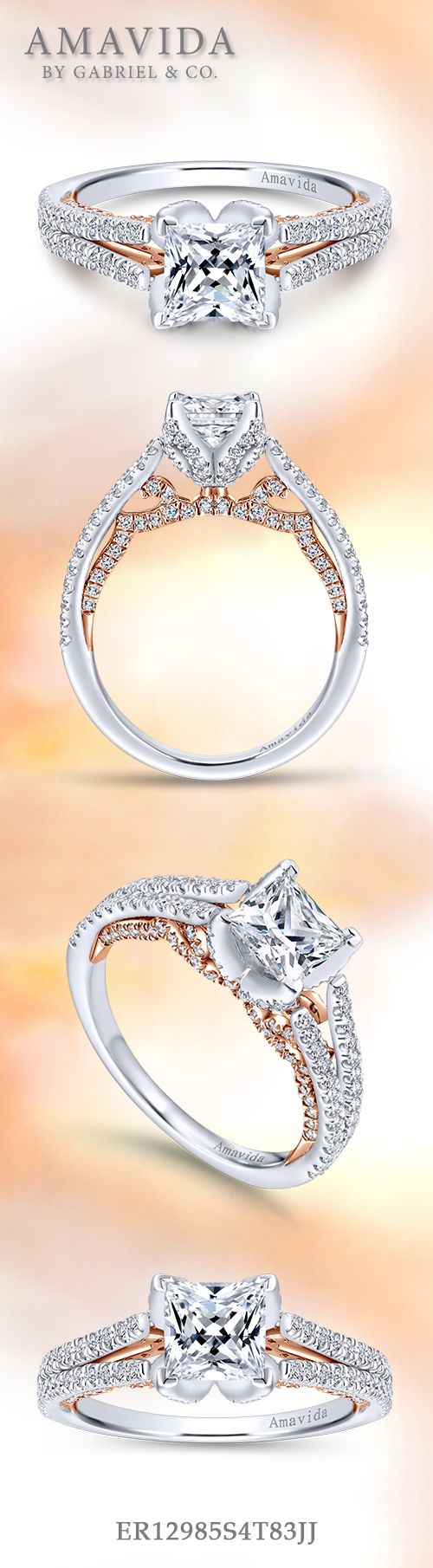 Amavida by Gabriel & Co. - Voted #1 Most Preferred Bridal Brand.   Flashes of romantic pink gold and a unique floral halo embraces the princess cut center stone of this engagement ring.