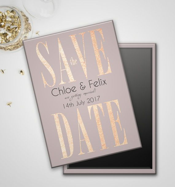 Rose Gold save the date magnets