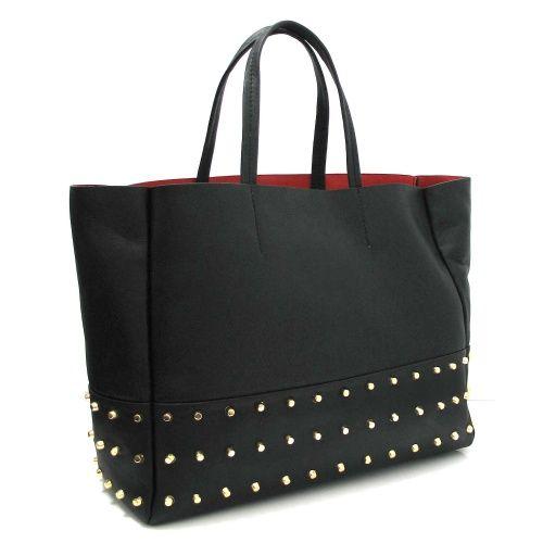 Marta Jonsson Black Leather Tote Style Handbag with Gold Stud Detail.