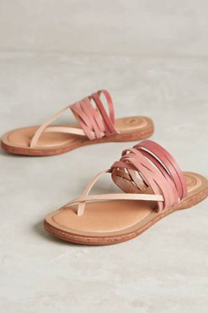 pink leather summer sandals