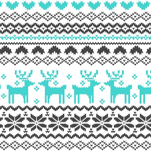 Turquoise Charcoal FairIsle Reindeer Pattern on White Cotton Jersey Blend Kni...