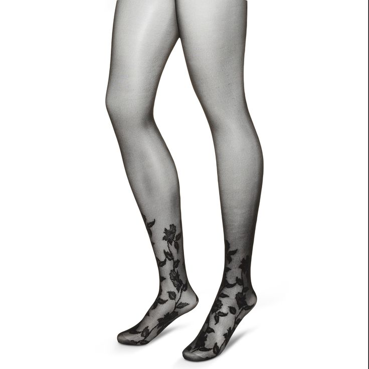Let style blossom in the Women's Premium Tights Floral Foot - Merona. These fabulous sheer black tights feature a floral pattern growing up the ankles and rising up the backs of the thighs to the waistline. Very spicy stuff. The mid-rise waistband has medium control for that sleek look, while the reinforced toes are built to last. Encourage loveto grow on the next date night with these super sultry stockings.
