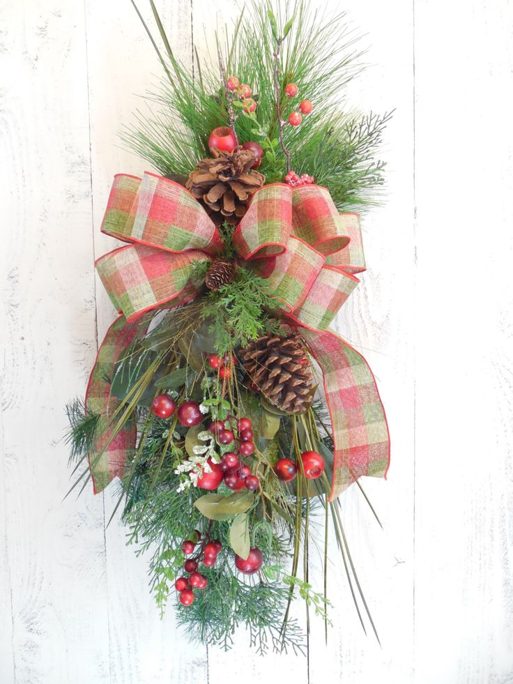 Christmas swag, Christmas wreaths, Winter door swag, Holiday wreaths, Pine, Red and Green, Wreaths for Christmas, Holiday door decor, Berry by ChickadeeLore on Etsy https://www.etsy.com/listing/254769288/christmas-swag-christmas-wreaths-winter