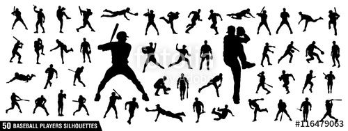 Vector: Vector set of Baseball Players Silhouettes