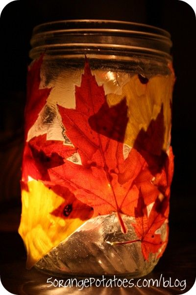 Create a Leaf lantern this Fall.  Just glue leaves + Modge Podge to the OUTSIDE of the jar.  candles or battery operated ones go inside the jar.  Line the walk way or use as table toppers,  along the hearth for an autumn glow, on the patio etc....