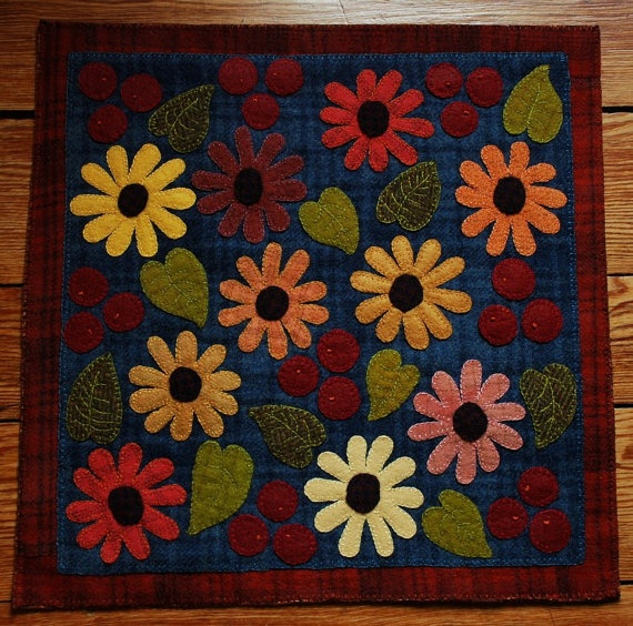 Primitive Wool Applique Penny Rug Candle Mat Black by HighlandSong, $99.00