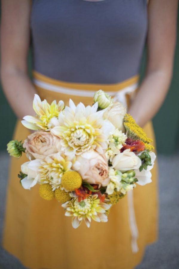 peach and yellow wedding bouquet by Glow Floral // photo by Katrina Louise