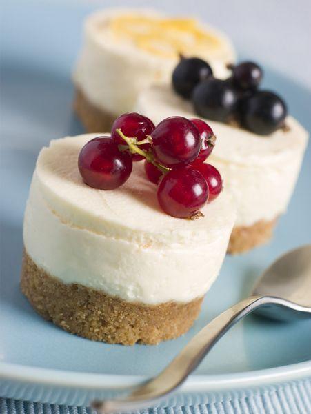 Mini no-bake cheesecakes.