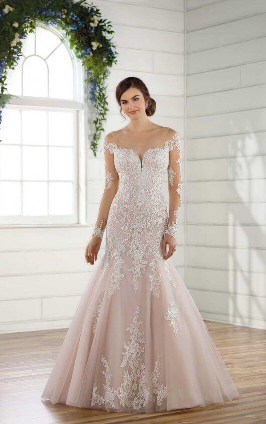 D2425 Modern Off-the-Shoulder Wedding Gown by Essense of Australia