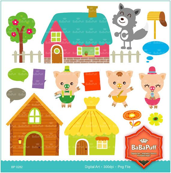 Instant Downloads 3 Little Pigs & Wolf Fairy Tale Clip by BaBaPuff