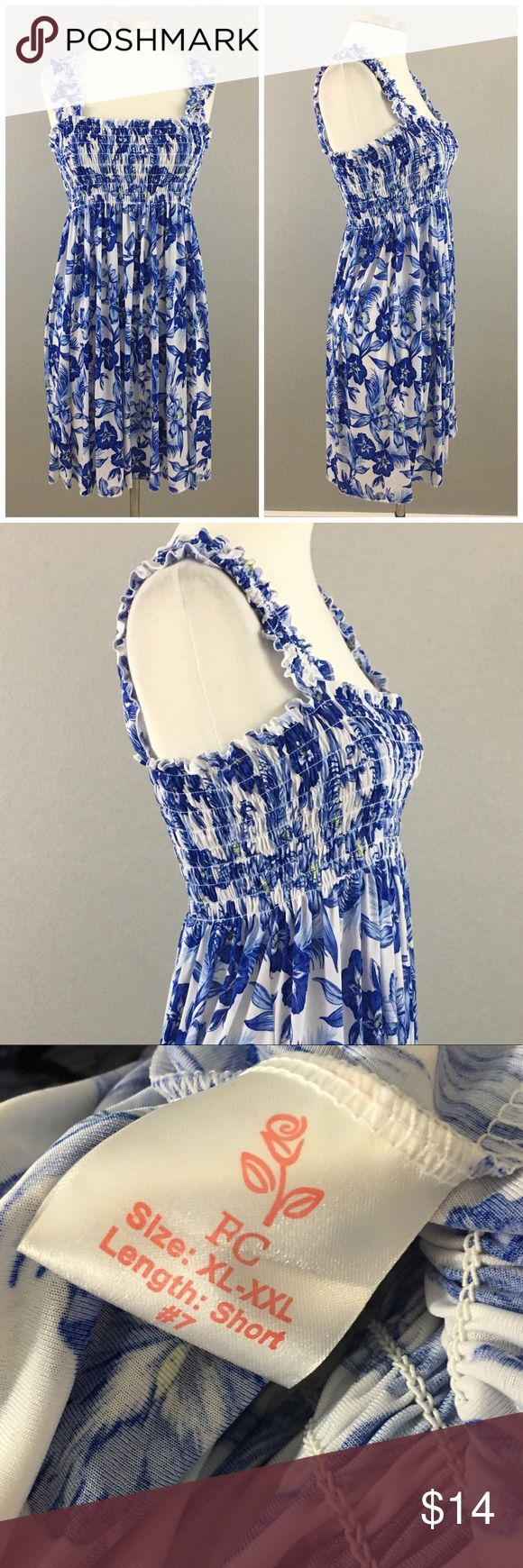 Gorgeous Hawaiian Floral Print Blue White Dress Gorgeous Hawaiian Floral Print Blue White Dress. Size XL. Dress hits slightly above the knee in length.   Thank you for looking at my listing. Please feel free to comment with any questions (no trades/modeling).  •Condition: EUC, no visible flaws.   25% off all Bundles or 3+ items! Reasonable offers welcome. Visit me on INSTA @reupfashions. JC world market Dresses Midi