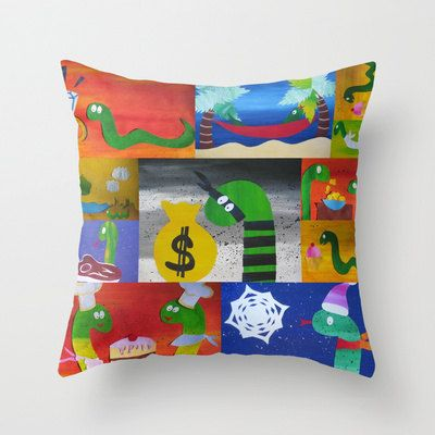 cushion with bright happy snakes collage for children or fun adults colorful multicolored  art for home  pillows case covers cushions pillow...