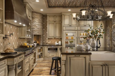 Rustic Chefs Kitchen with Brick Ceiling