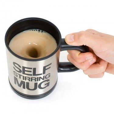Un Mug isotherme auto-touilleur ? Si, si, ça existe bien, vous ne rêvez pas ! Adieu le petite cuillère pour touiller, un bouton suiffit !