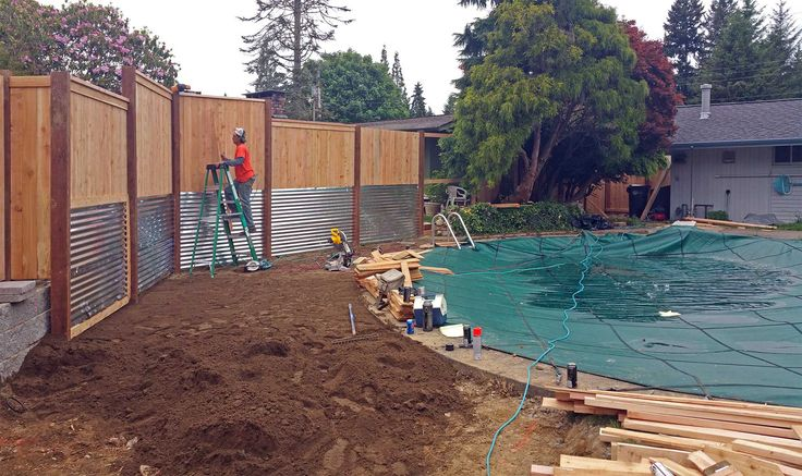 17 best images about south olympia poolside transformation for Pool privacy screen