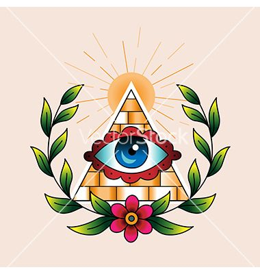 Tattoo pyramid with eye vector  by Reinekke on VectorStock®