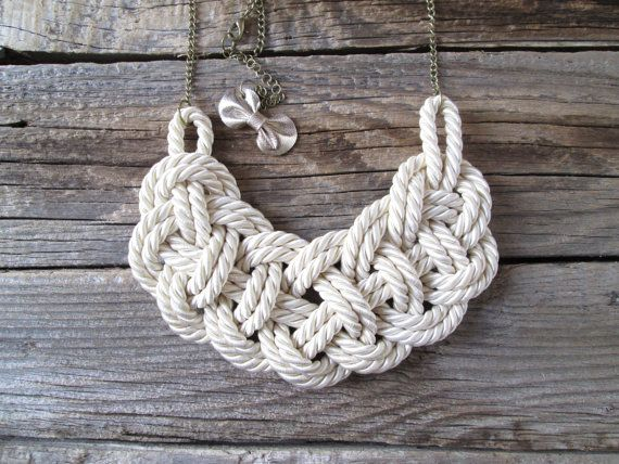 White Rope necklace Nautical rope knot necklace by NasuKka on Etsy, $34.00