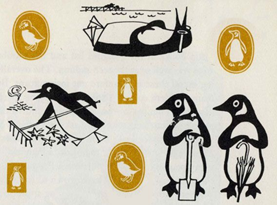 Early sketches for the 'Penguin' Book company logo design ... more humourus but less universal than the icon they settled for!