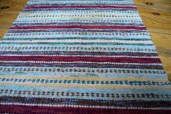 Vintage Swedish Rag Rug Striped Rug Handmade Carpet Scandinavian Rug Cottage Floor Runner With Fringes 25 X 85 Scandinavian Rug Carpet Handmade Striped Rug