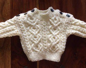 Babys Hand-knitted aran Jumper. Age 0-6 months.