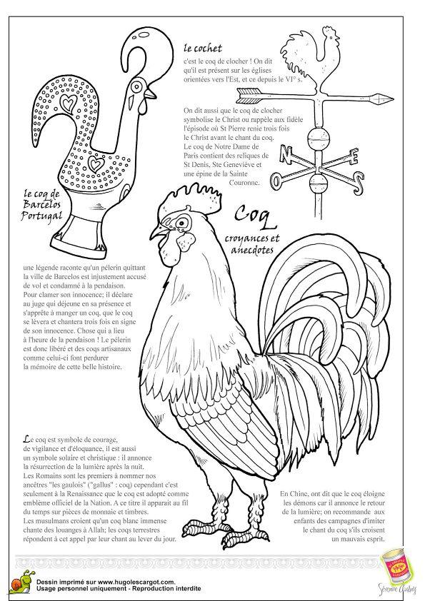 A colorier, un cochet, le coq de Barcelos Portugal et un coq