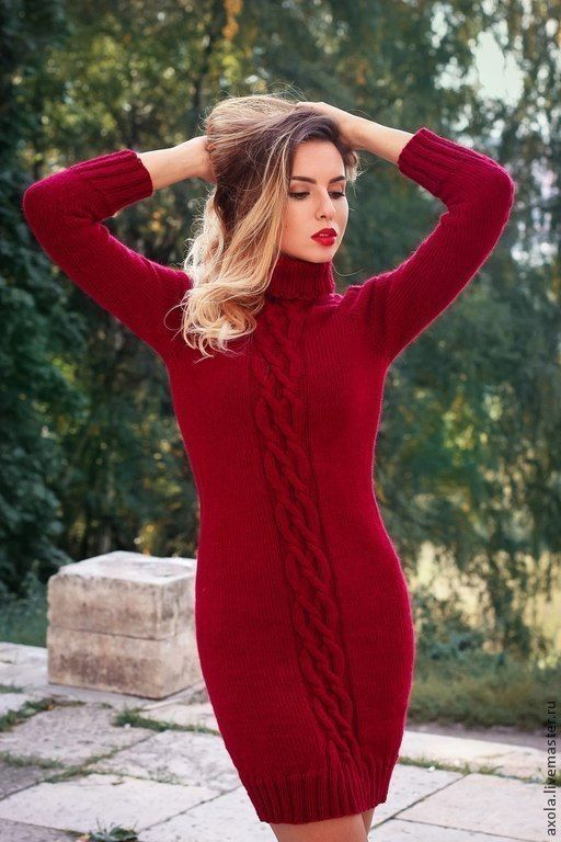"""Платье """"Бордо"""" - бордовый,вязаное платье,платье повседневное,платье,платье вязаное спицами"""