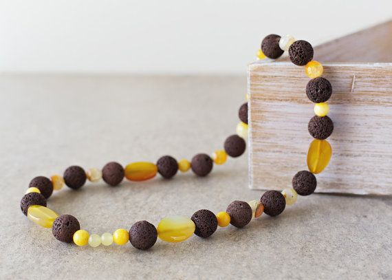 Brown Lava and Yellow Agate Necklace by JeniandPatsBeadHive