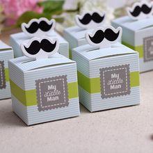 50 pcs My little Man bigode bonito aniversário do menino Baby Shower Favors Boxes lembranças do chuveiro de bebê presentes de casamento para convidados(China (Mainland))