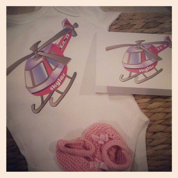 Personalised pink #helicopter onesie, #handmadebooties and matching #card