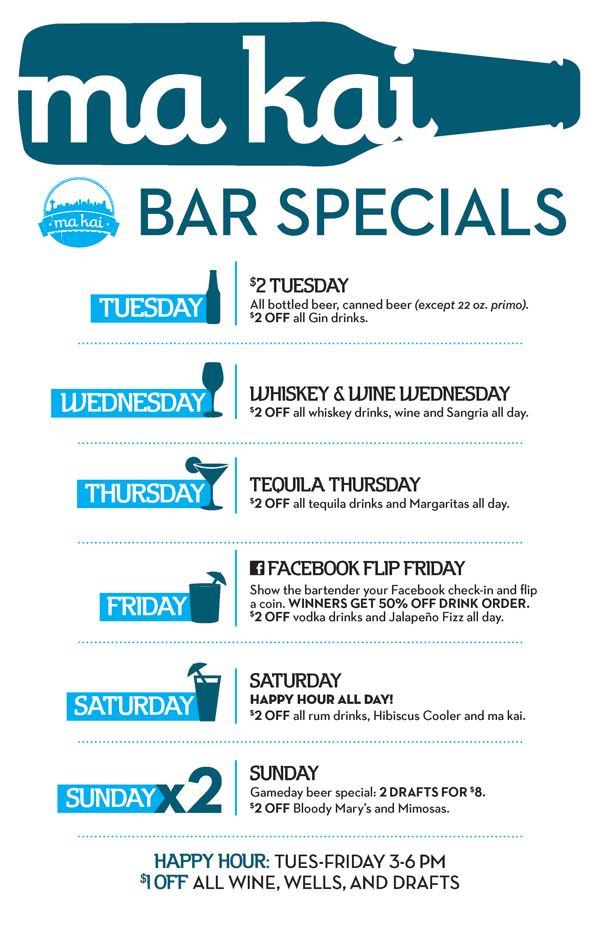 Marination Ma Kai Bar Specials
