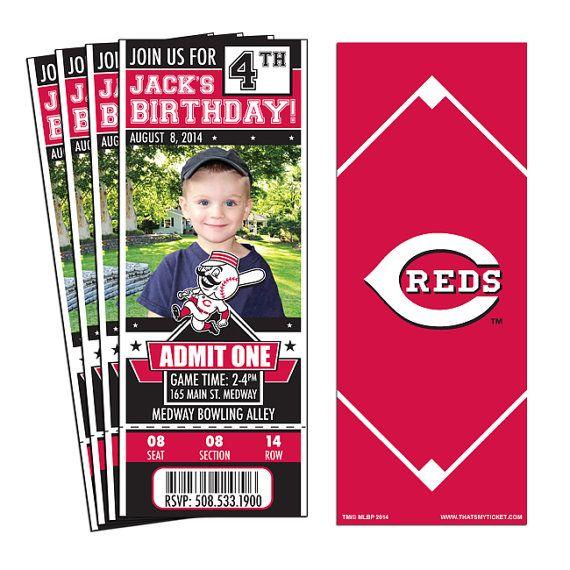 12 Cincinnati Reds Birthday Party Ticket by ThatsMyTicket on Etsy
