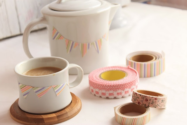 Add bunting to a tea set with washi tape.
