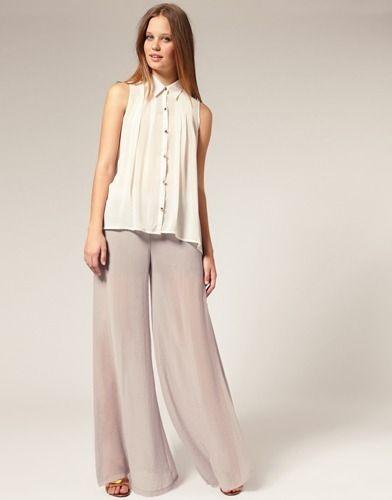 Calça Pantalona Eg- Modelo Importado Elegante Feminino Cinza - R$ 129,00
