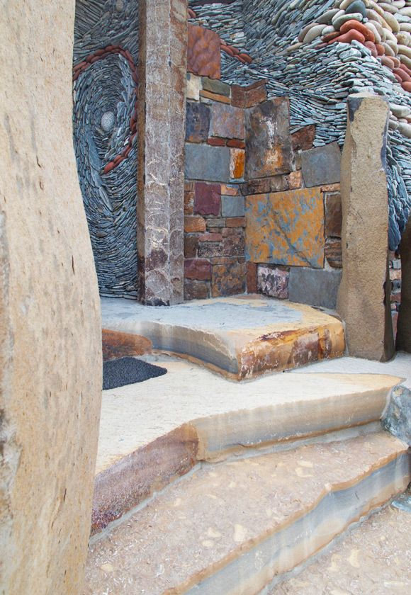 """""""Crossroads"""" Stone entryway with slab stairs and  stone pebble walls - Ancient Art of Stone"""