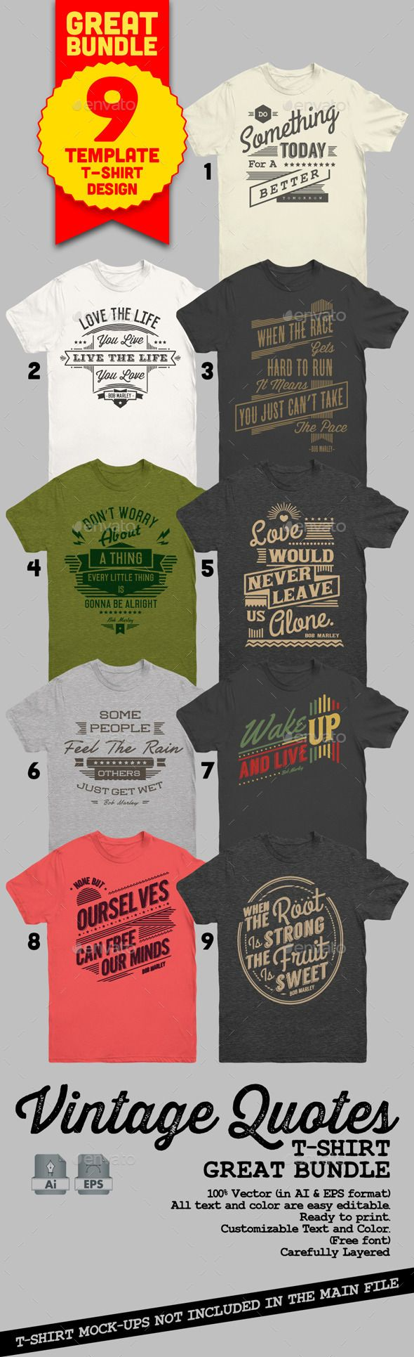 Vintage Quotes T-Shirt Bundle