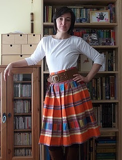 Self drafted skirt; made from Venda tribal cotton purchased in Cape Town, South Africa.