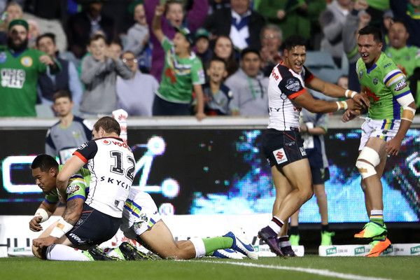 Joseph Leilua of the Raiders scores a try during the round seven NRL match between the Canberra Raiders and the New Zealand Warriors at GIO Stadium on April 15, 2017 in Canberra, Australia.