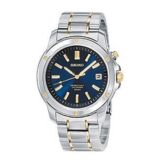 Seiko® Men's Two-Tone Blue Dial Perpetual Calendar Watch