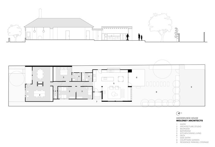 Image 14 of 14 from gallery of Wooden Box House / Moloney Architects. Plan - Section