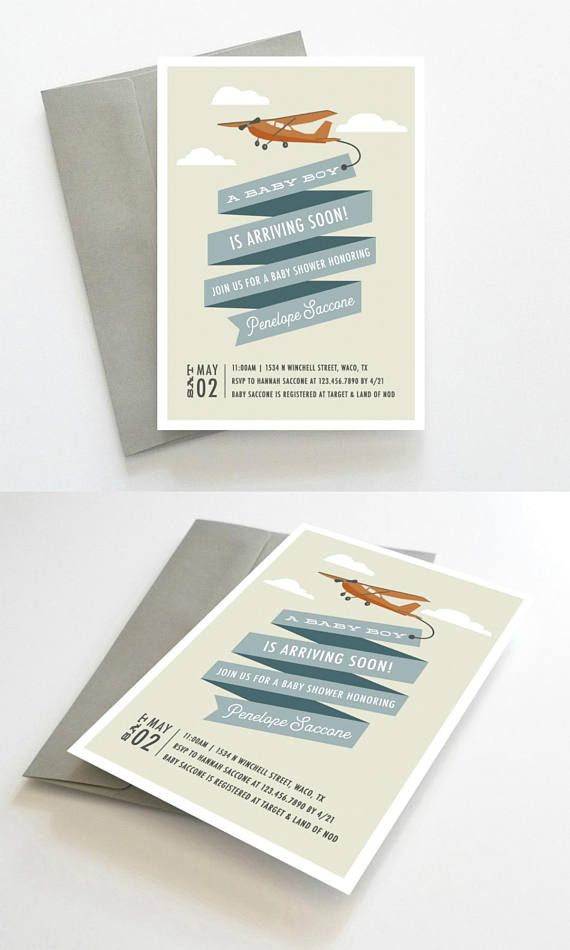 Airplane Baby Shower Invitations, Plane Baby Shower Invitation, Boy Baby Shower Invitation, Baby Shower Invitation Boy, Vintage Airplane Baby Shower Invitation // Design by Oakhouse on Etsy