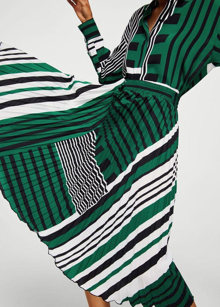 Printed pleated skirt - Woman | MANGO Greece