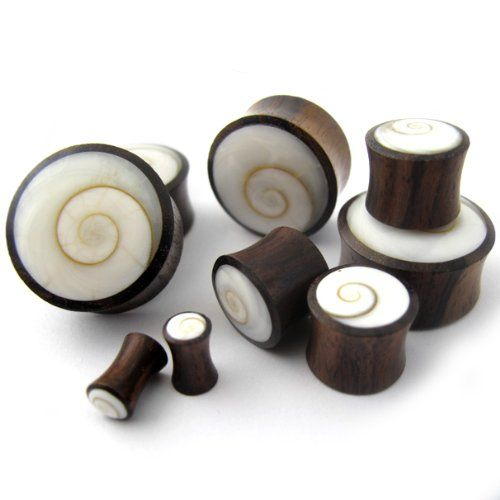 Pair of 0 Gauge Spiral Sea Shell Inlay Wooden Plugs (0G - 8mm) - Double Flare UrbanBodyJewelry.com http://smile.amazon.com/dp/B00GT8I8AG/ref=cm_sw_r_pi_dp_iQgrub1MXYV9P
