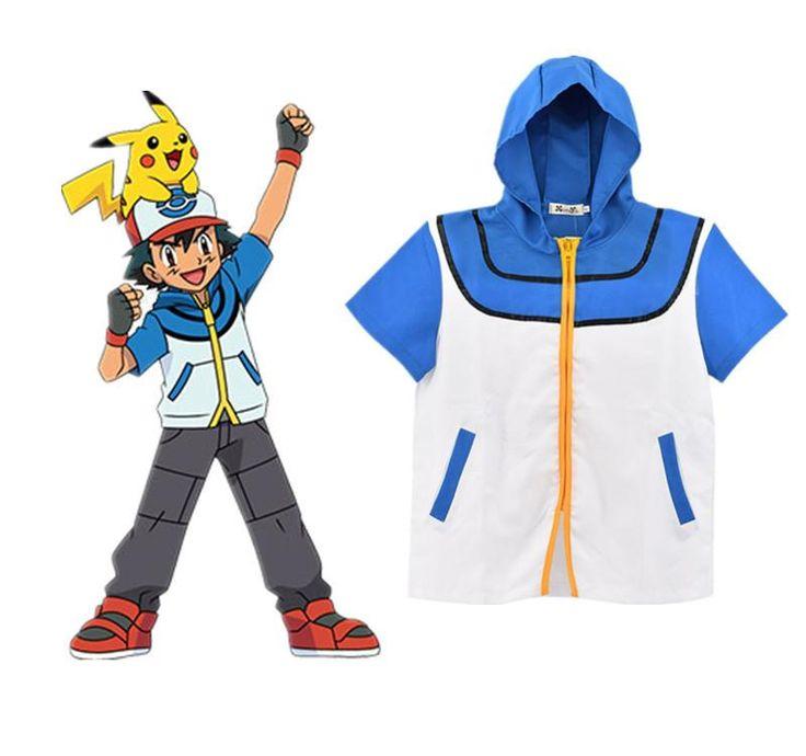 Pokemon Go Ash Ketchum Trainer Cosplay Jacket Coat Pocket Monster Costume Hoodie