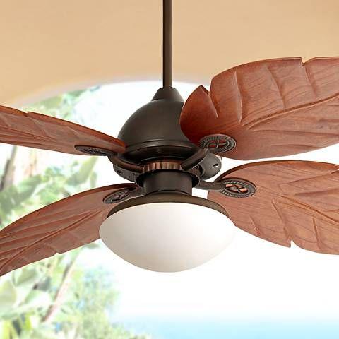 60 Casa Vieja Oak Creek White Glass Damp Rated Ceiling Fan