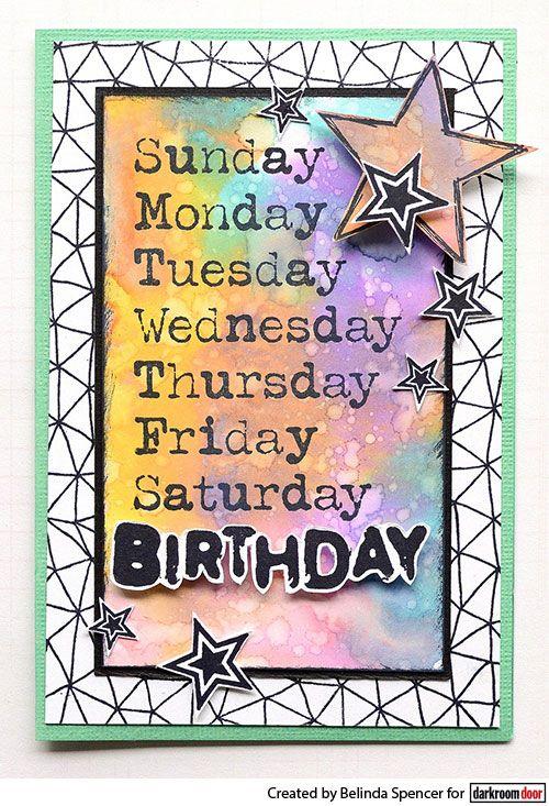 Card by Belinda Spencer using Darkroom Door Seven Days Eclectic Stamp!