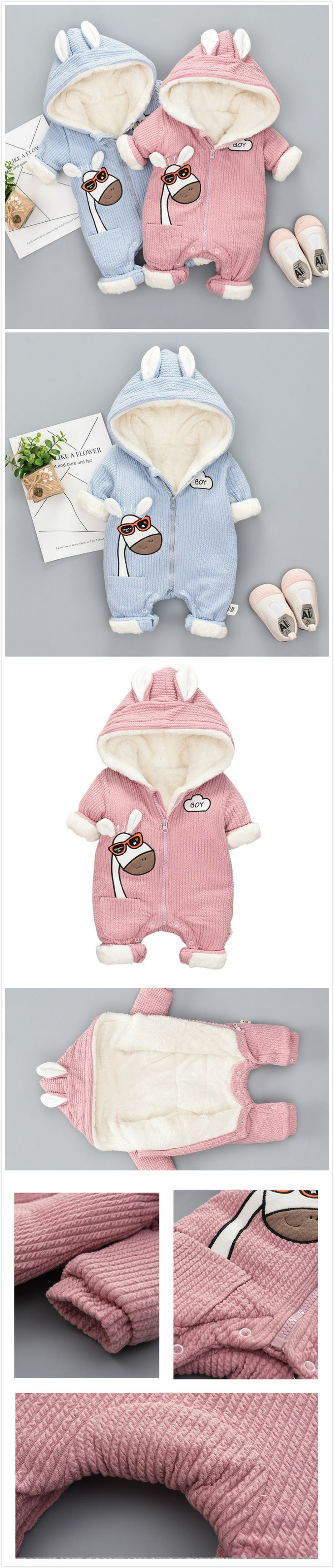 Thicker Cartoon Horse Baby Winter Warm Hooded Jumpsuit