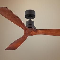 Possible for the porch: no light, wood blades. Casa Vieja® Delta-Wing™ Ceiling Fan - 52'' Bronze