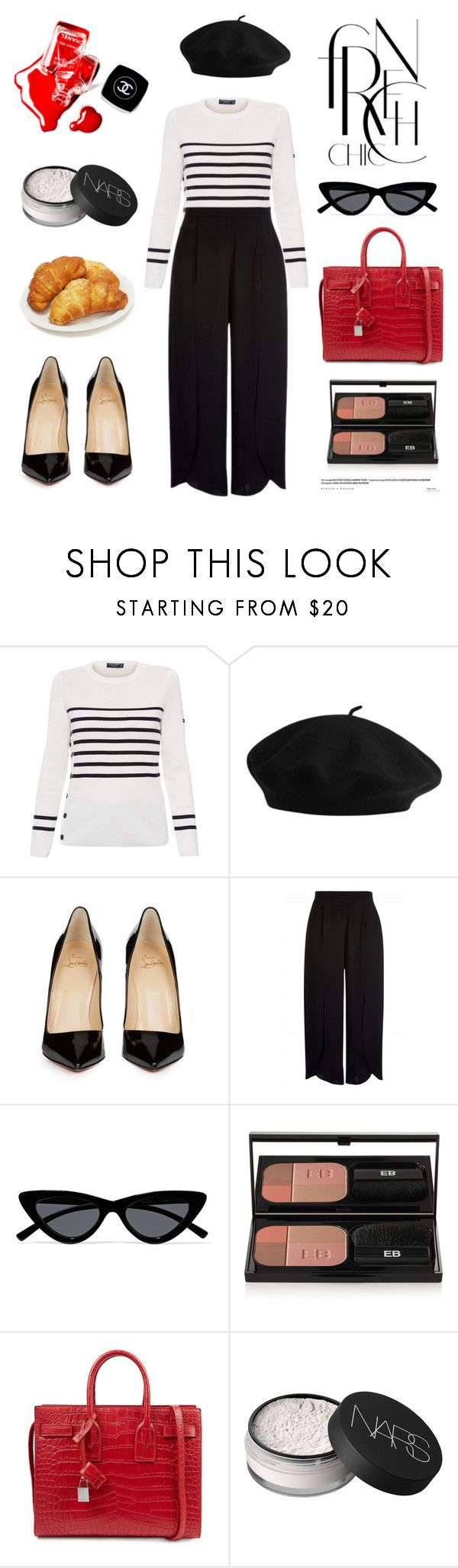 """""""Untitled #695"""" by tenindvr ❤ liked on Polyvore featuring Saint James, Christian Louboutin, Le Specs, Edward Bess, Yves Saint Laurent, NARS Cosmetics and Chanel"""