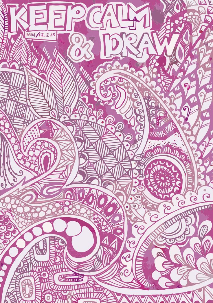 hand drawing - doodle art - keep calm & draw - pink version